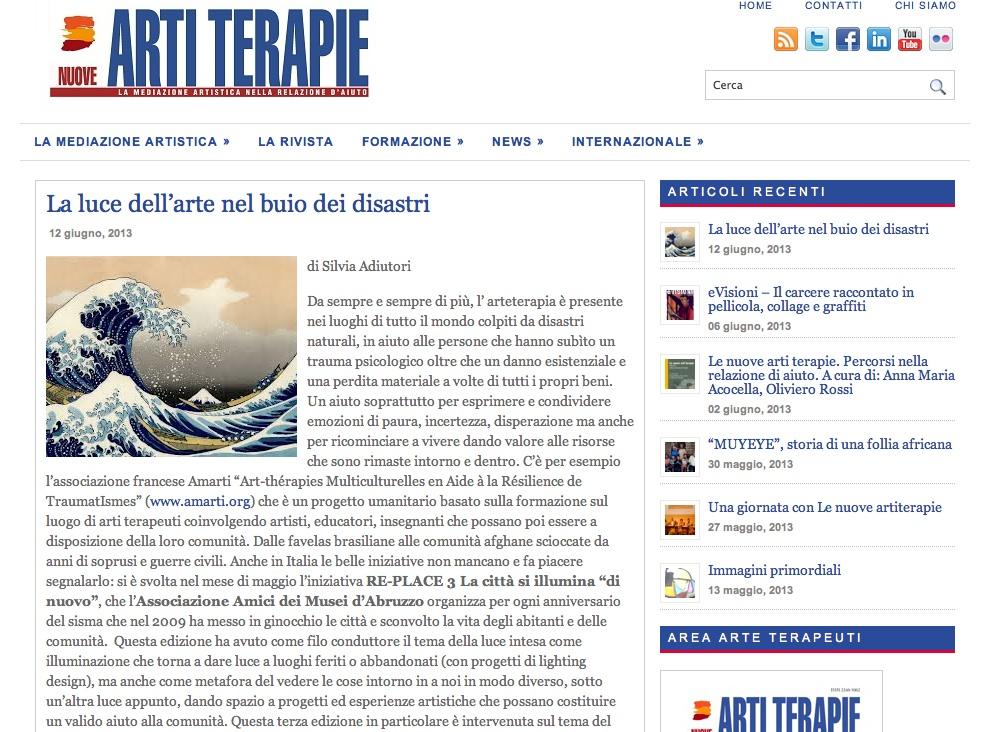 """12 Giugno 2013 ARTI TERAPIE """"La luce dell'arte nel buio dei disastri"""" a cura di Silvia Adiutori"""