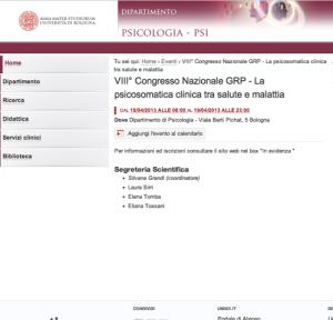 Università di Bologna - Facoltà di Psicologia – VIII Congresso Nazionale GRP